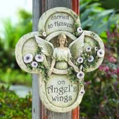 This memorial plaque can serve as a beautiful reminder that a loved one was gracefully guided to Heaven on the wings of an angel. Grieving Gifts, Memorial Garden Stones, Garden Plaques, Saints, Angel Sculpture, Bereavement Gift, Memorial Gifts, Memorial Plaques, Infant Loss