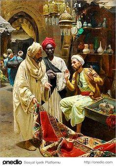 The Carpet Seller in Egypt by Rudolf Swoboda Tableaux Vivants, Empire Ottoman, Arabian Art, Islamic Paintings, Egyptian Art, North Africa, Islamic Art, Art History, Illustration
