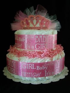PRINCESS 2 tier diaper Cake Baby shower by Beyonddiapercakes, $39.99