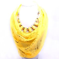 Shop Online Beora Yellow Scarf Print Necklace just Rs. 999.00 only from Trendymela.com  Get extra 10% discount on all jewellery. Use coupon code: JAN10