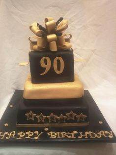 Black And Gold 90th Birthday Cake Cakes 50th Parties