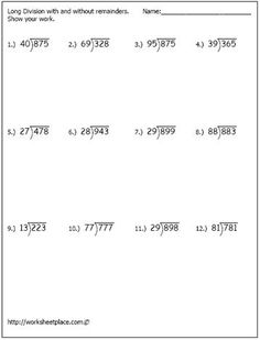 Free printable long division worksheets for 5th graders