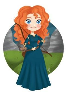 """Princess Merida from Disney's """"Brave"""". Last one from 2 princesses left. Well, one is a queen xD Merida Walt Disney, Merida Disney, Disney Nerd, Disney Films, Disney Fan Art, Cute Disney, Disney And Dreamworks, Disney Characters, Face Characters"""
