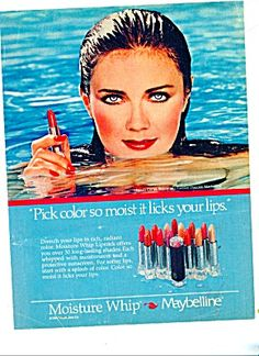 Maybelline were about excess, esp. when it came to makeup. And blush…lot's of blush. Lynda Carter was the spokesperson for Maybelline. 1980s Makeup, Vintage Makeup Ads, Vintage Beauty, Vintage Vanity, 80s Ads, Retro Ads, Vintage Advertisements, Retro Advertising, My Childhood Memories