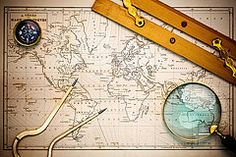 World Map Metal Prints - Old map and navigational objects. Metal Print by Richard Thomas