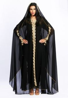 Occasion wear abaya and sheyla set with gold embellishments