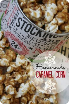 If you LOVE Caramel Corn don't miss this one! This recipe is so easy to make and it's delicious! Plus you can create your own popcorn tins to use as gifts! This is a classic holiday treat! #christmas #recipes #popcorn