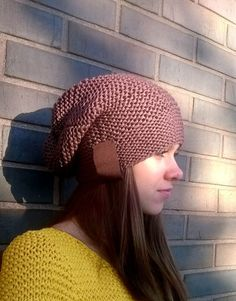 Knitted hat with stripe Knitted hat Hand knit от NataNatastudio