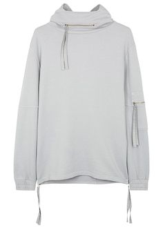 Exclusive to Harvey Nichols Blood Brother grey sweatshirt Hood with zipped front pocket, dropped shoulders, zipped sleeve pocket, elasticated cuffs, zipped sides Slips on 100% cotton