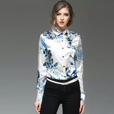 8140bfc9ac28 2018 2017 Printing Women Shirts Spring Elegance Casual Top White Floral  Printed New Fashion Lady Long Sleeve Female Backing Tops From Sinofashion