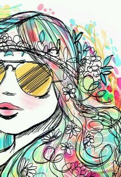 hippie dibujos results - ImageSearch Art And Illustration, Illustrations, Graffiti Kunst, Pop Art, Creation Art, Hippie Art, Hippie Chick, Painting & Drawing, Drawing Tips