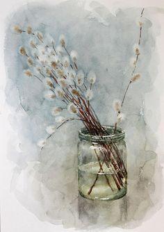 Original watercolor painting willow, Spring watercolor art willow watercolor original art, original painting willow, willow anniversary gift