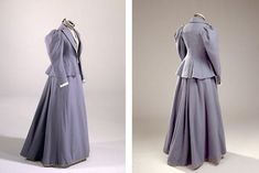 The blue-gray skirt and morning dress with white cuffs are sewn by dressmaker inside Amanda Frederiksen in Copenhagen. The clothes are from the 1890s and belonged to Queen Louise (1817-98). Queen Louise was married to Christian 9. (1818-1906). ..Suit, light blue-gray flannel. The costume consists of skirt, bodice and morning dress - short jacket.