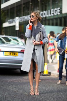 olivia palermo with a perfect grey coat w/ lapels / London Fashion Week Street Style Spring 2015, Harper's BAZAAR