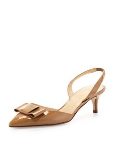 susi patent bow slingback pump, new camel by kate spade new york at Neiman Marcus.