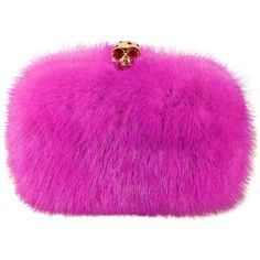 Preowned Alexander Mcqueen Skull-clasp Mink Box Clutch Pink ($1,804) ❤ liked on Polyvore featuring bags, handbags, clutches, pink, alexander mcqueen handbags, pre owned handbags, skull box clutch, kiss-lock handbags and skull handbag