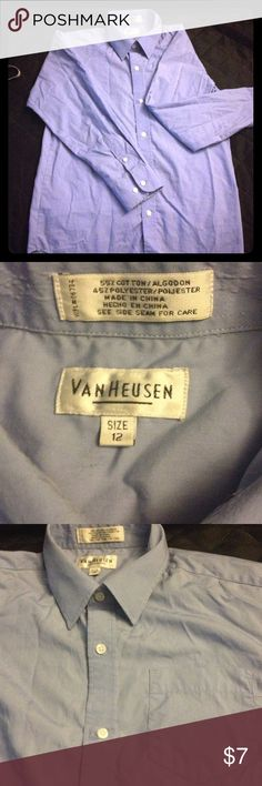 Boys button down size 12 Boys button down size 12, Van Heusen brand, periwinkle blue, Loved but in great condition Van Heusen Shirts & Tops Button Down Shirts