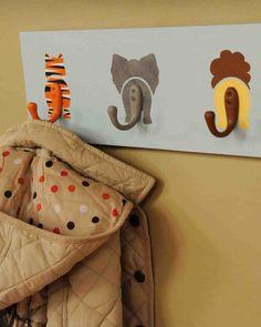 DIY Jungle animal coat hooks - a fun way to decorate the nursery.