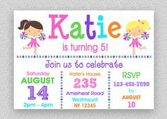 Cheerleading Birthday Invitation  Cheer  by TheTrendyButterfly