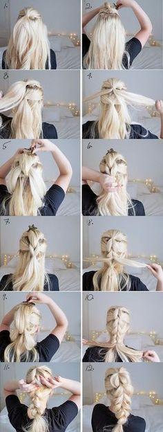 Zopf mit Hochstecken - Frisur lange Haare