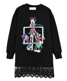 Lace Hem Cartoon Pattern Sweatshirt