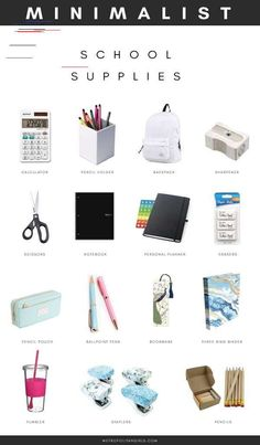 Minimalist School Supplies for College and High School. School essential packing list for girls and boys. Minimalist School Supplies for College and High School. School essential packing list for girls and boys. Middle School Supplies, Middle School Hacks, High School Hacks, School Supplies Highschool, Life Hacks For School, High School Essentials, Back To College Supplies, Back To School Tips, College Supply List