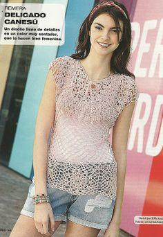 Crochetemoda: Crochet - Blusa Rosa