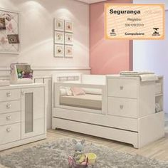 Berço com Cama Auxiliar e Cômoda Sol e Mar - Branco Baby Bedroom, Nursery Room, Girls Bedroom, Baby Furniture, Kid Beds, Baby Cribs, Girl Room, Bed Frame, New Baby Products