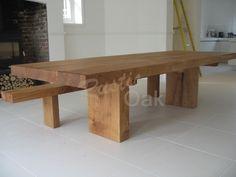 Rustic Oak - chunky oak beam dining table http://www.rusticoak.co.uk/product/pedestal-base-dining-table/