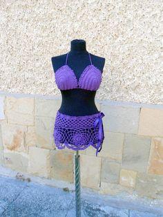 Crochet Beach Wear, Crochet Purple two piece crochet top and skirt, Crochet Cover up - Crochet creation by etelina   Crochet.Community
