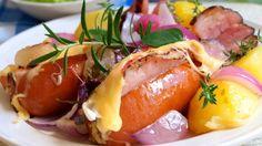 Pork Tenderloin Recipes, No Cook Meals, Baked Potato, Ham, Potato Salad, Sausage, Food And Drink, Low Carb, Cooking