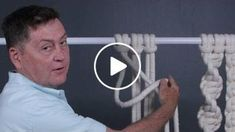 Andy Newcom senior stylist at Hallmark shows us how to tie the basic knots of Ness Macrame Wall Hanging Diy, Macrame Plant Hangers, Macrame Owl, Macrame Jewelry, Macrame Design, Macrame Projects, Macrame Tutorial, Macrame Patterns, Dream Catcher