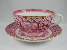 red transferware cup | Spode Primrose Red Transferware Tea Cup & Saucer English China