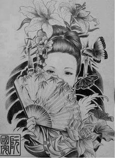 Resultado de imagem para tatuagens gueixa desenhos Japanese Geisha Tattoo, Japanese Tattoo Designs, Japanese Art, Geisha Tattoos, Body Art Tattoos, Girl Tattoos, Geisha Art, Geniale Tattoos, Japan Tattoo