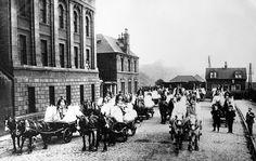 Tour Scotland Photographs: Old Photograph Parade Of Wagons Flour Mills Dundee Scotland