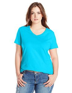 Just My Size Women's Plus-Size Short Sleeve V-Neck Tee, Process Blue, 2X - http://www.exercisejoy.com/just-my-size-womens-plus-size-short-sleeve-v-neck-tee-process-blue-2x/athletic-clothing/
