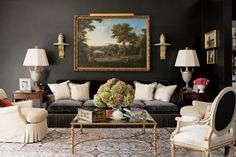 Elegant charcoal living room - Richard Keith Langham design