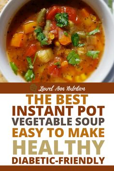 "This is the ""everything but the kitchen sink"" soup! Traditionally, you throw all those random leftover vegetable bits into a pot and call it soup. While you can certainly do this, here is a recipe to help give you some inspiration. Or make it exactly as is because it is delicious. #healthy #soup #lowcarb #diabeticrecipes Diabetic Side Dishes, Side Dishes For Bbq, Healthy Dishes, Healthy Meal Prep, Healthy Recipes, Healthy Soup, Delicious Recipes, Diabetic Slow Cooker Recipes, Diabetic Recipes For Dinner"