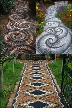 20 Inspiring Mosaic Walkway Design Ideas For Your Backyard  http://theownerbuildernetwork.co/landscaping-and-gardens/mosaic-garden-path/  Although an ancient form of art, mosaics are still popular today.They are a great DIY project, with the design only limited by your imagination.  These are great examples of mosaic walkways!