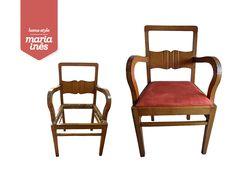 """Esta cadeira de braços estava a precisar de uma """"lavagem de cara"""" e de um tampo novo. A madeira foi restaurada e depois de estofado o novo tampo, obtivemos uma confortável peça!  🌈"""