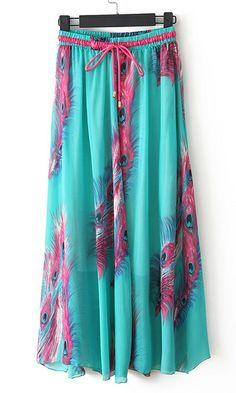 Bohemian print chiffon skirt C461090