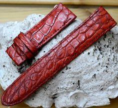 GENUINE Red ALLIGATOR, CROCODILE LEATHER SKIN WATCH STRAP BAND 22mm