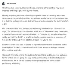 In all of Star Wars they never comment on someone being a girl in that way and i love that so much.