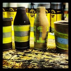 #firedepartment Koozies made from #firefighter recycled gear, another great way to reuse and recycle.