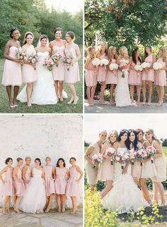 Short Blush Bridesmaids Dresses Inspiration | onefabday.com