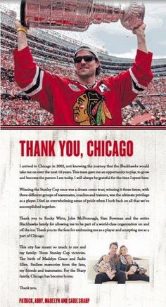 """""""Patrick Sharp took out a full-page ad in today's Chicago Tribune to thank Blackhawks fans. Blackhawks Hockey, Hockey Teams, Chicago Blackhawks, Hockey Players, Chicago Cubs, Hockey Stuff, Chicago Chicago, Hockey Rules, Blackhawks News"""