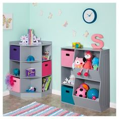 RiverRidge - Kids 6-Cubby, 3-Shelf Corner Cabinet - Gray, Grey