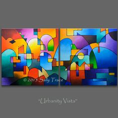 Custom original geometric abstract acrylic painting commission, 36x72 inches, two 36x36 inch paintings, Urbanity Vista, diptych painting