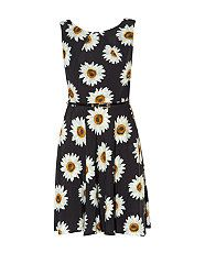 Apricot Black Oversized Daisy Print Belted Dress New Look UK