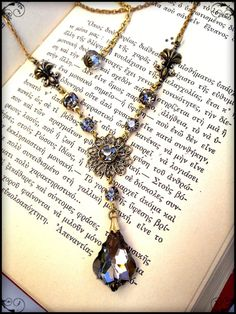 Victorian Gothic Style Gemstone Necklace by ApplebiteJewelry